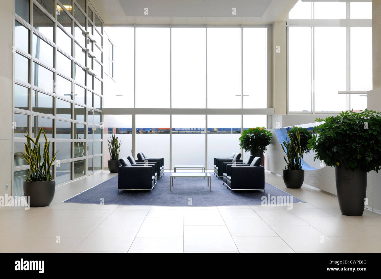 Stock Photo   The Interior Of A Large Office Reception With Seating Plants  And Large Smoked Glass Windows