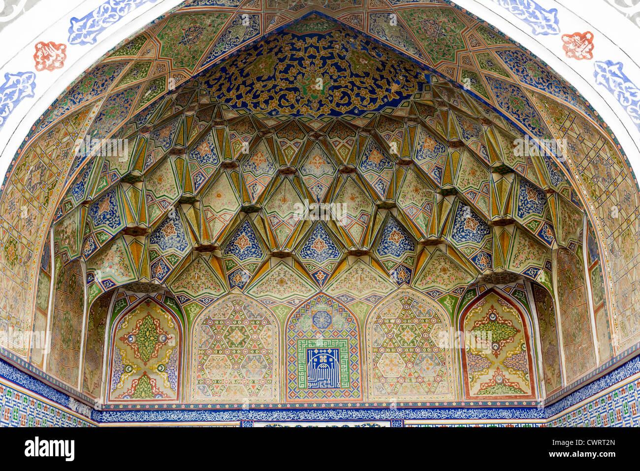 Detail Of Painting, Bala Hauz Mosque, Bukhara, Uzbekistan