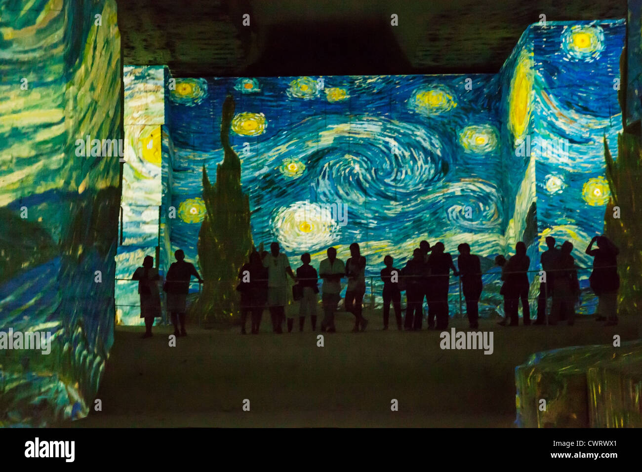 starry night van gogh stock photos starry night van gogh stock massive underground van gogh art show in the bauxite mine caves of les baux de