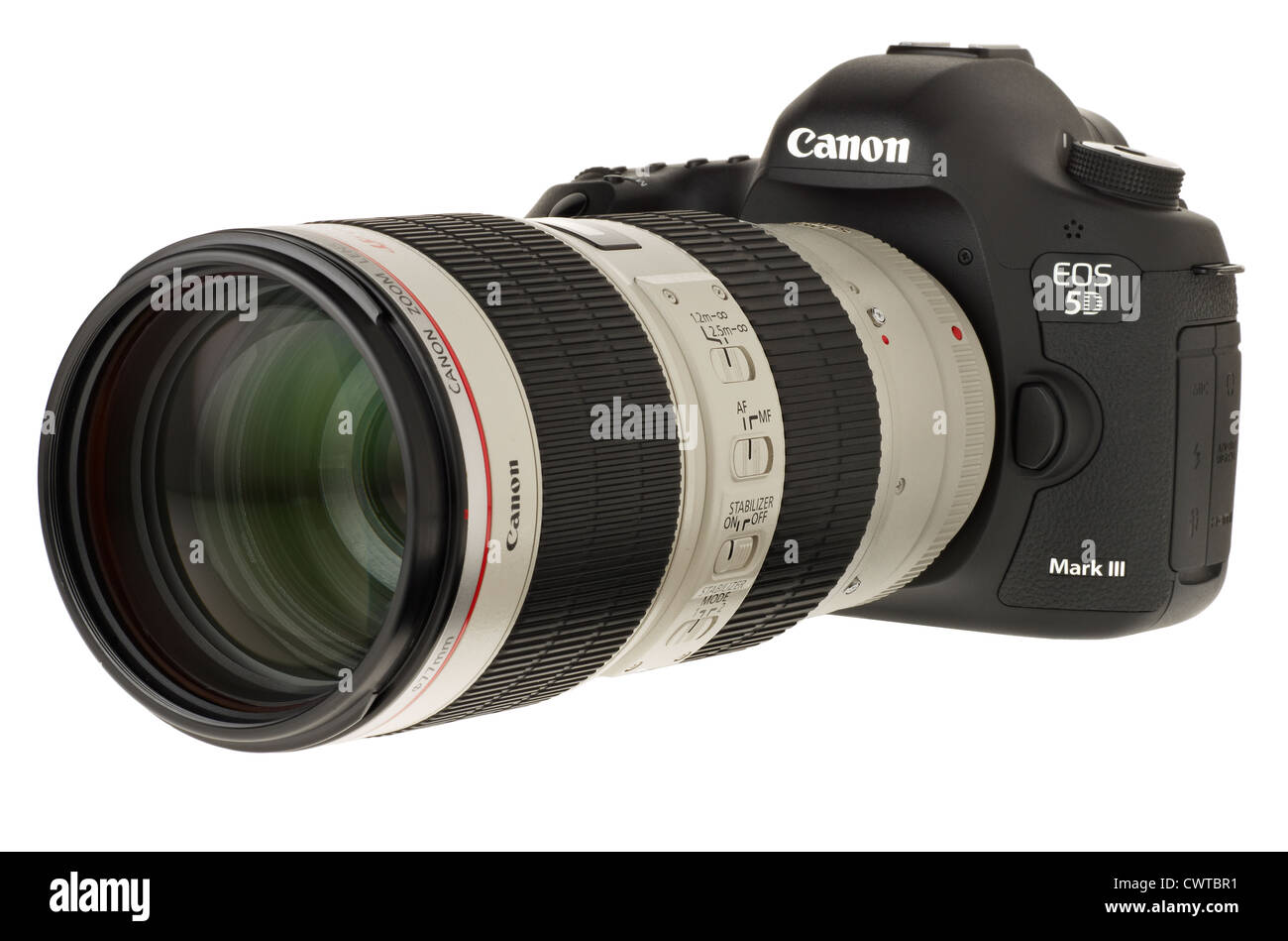 Canon DSLR camera 5D Mark 3 with a 70mm to 200mm zoom lens Stock ...