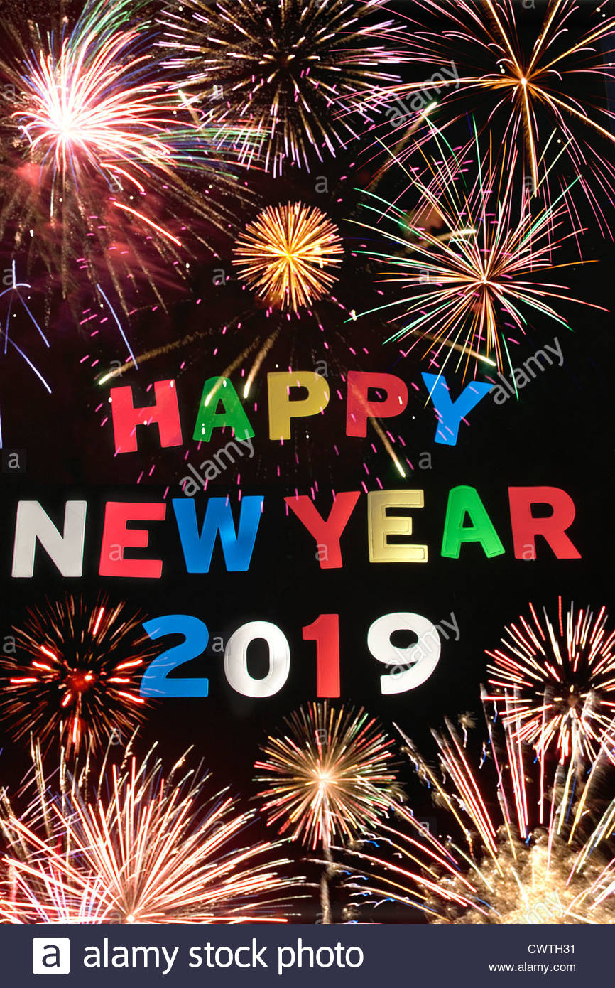 New Years Time Capsule Printable Questionnaire For Kids: HAPPY NEW YEAR 2019 Stock Photo: 50327397