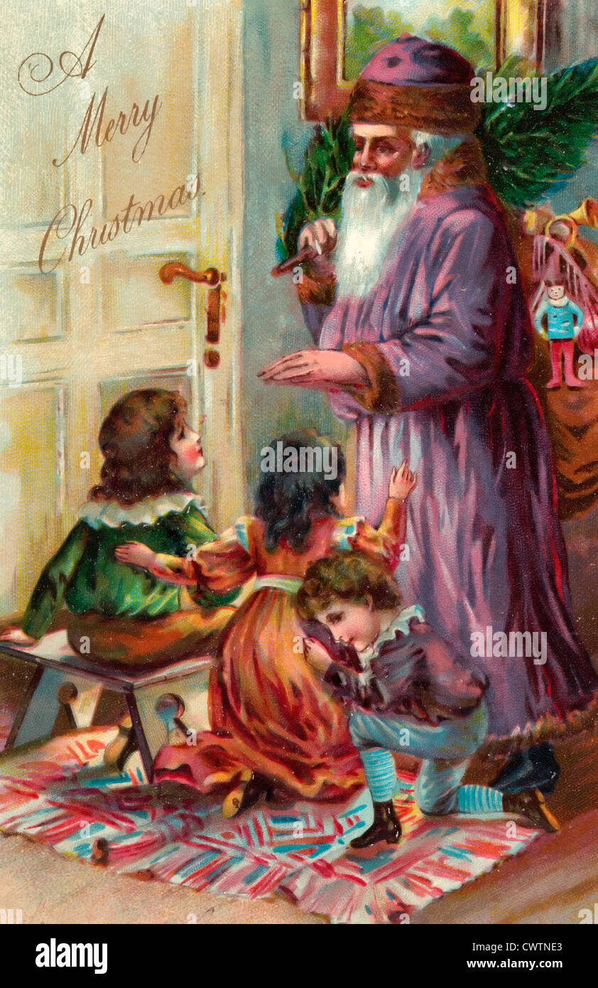 A Merry Christmas - St. Nicholas giving coins to children Stock ...