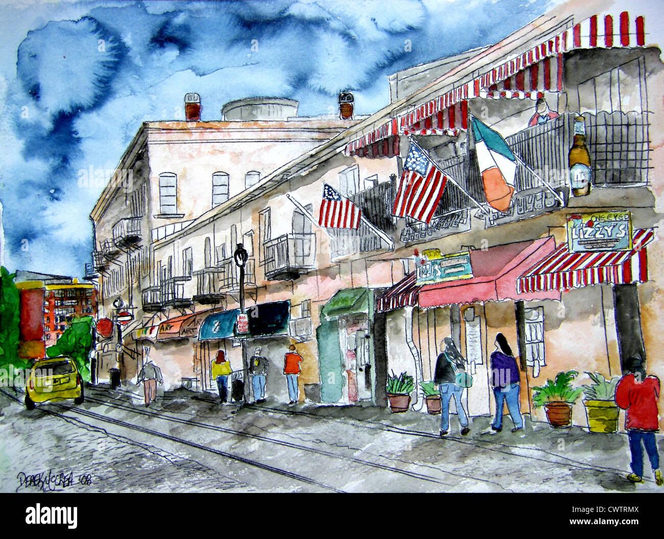 Savannah Georgia GA USA United States Flag Patriotic Art - Ga usa