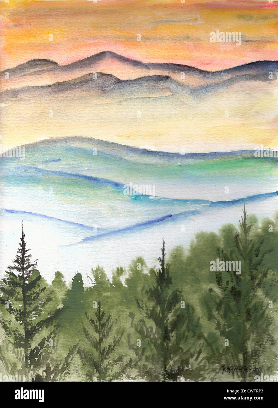Winter Snow Landscape Watercolor Painting Modern Abstract