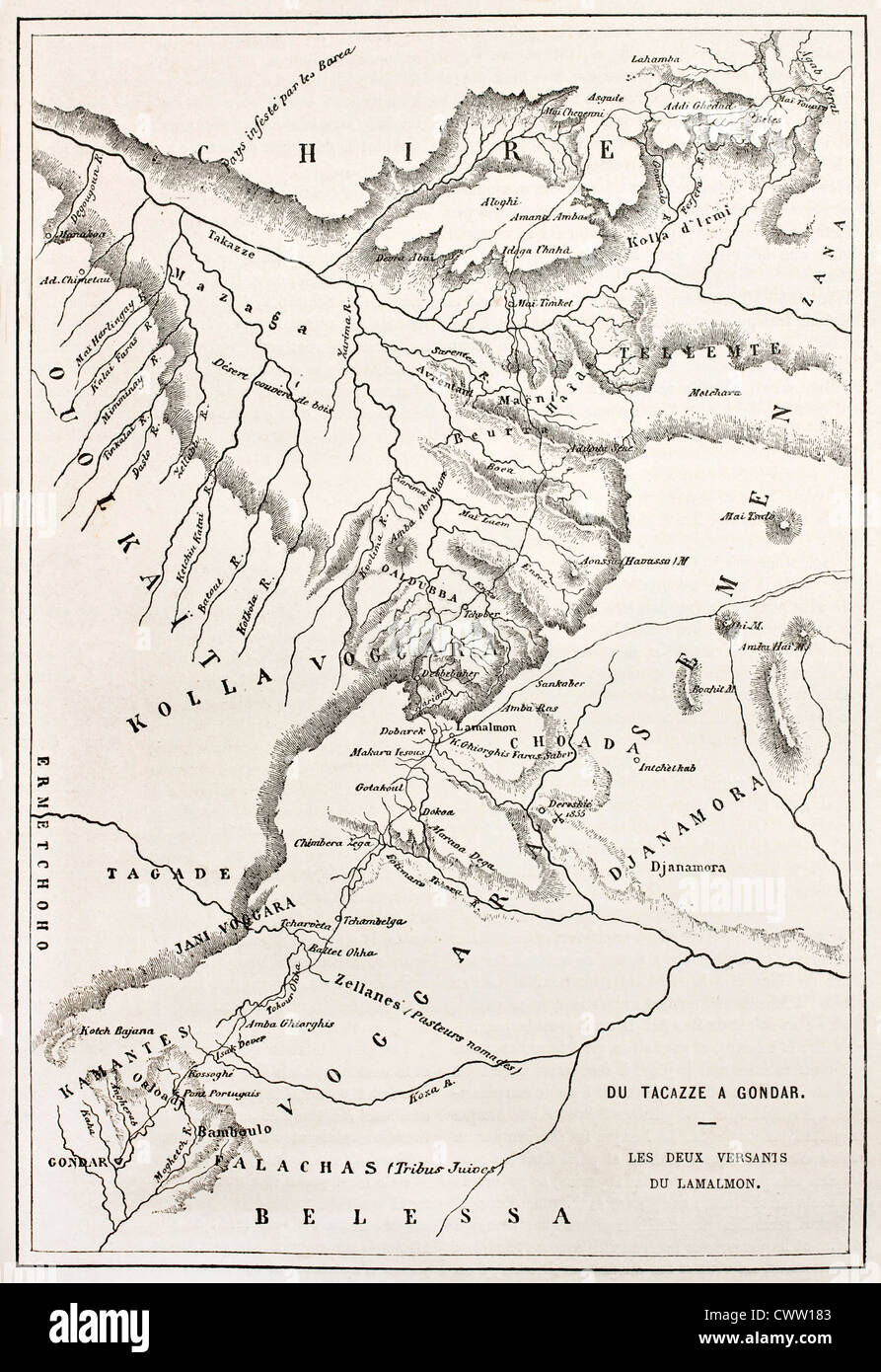 Ethiopia Old Map From Gondar To Takeze River Stock Photo Royalty - Gondar map