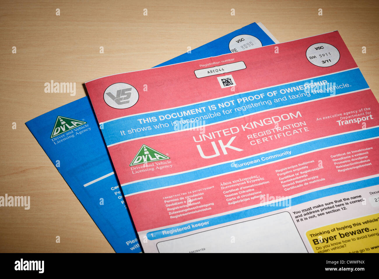 Dvla Vehicle Registration Certificate Stock Photo Royalty Free