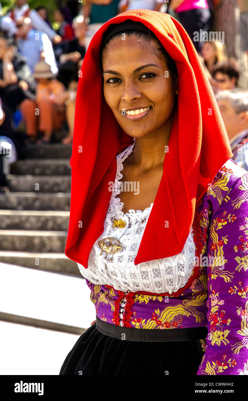 Woman wearing a traditional sardinian costume at the for Traditional photos