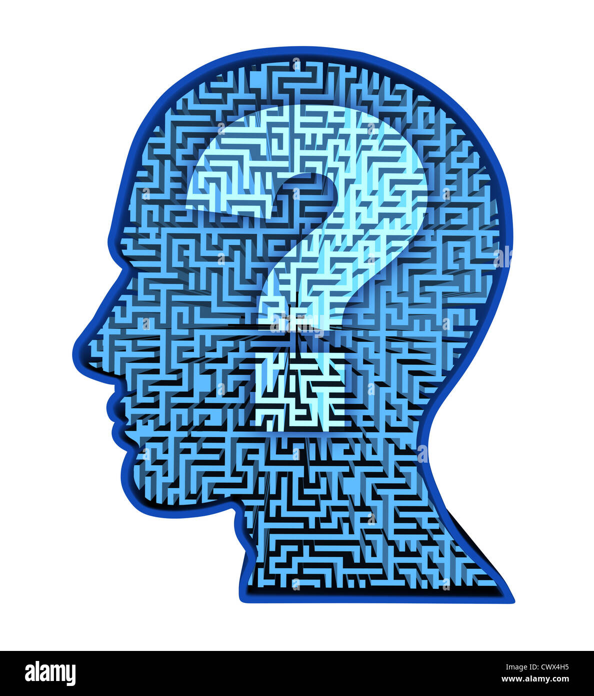 Human brain research and intelligence puzzle with a blue glowing intelligence puzzle with a blue glowing maze and labyrinth in the shape of a human head and question mark as a symbol of the complexity of thinking as biocorpaavc