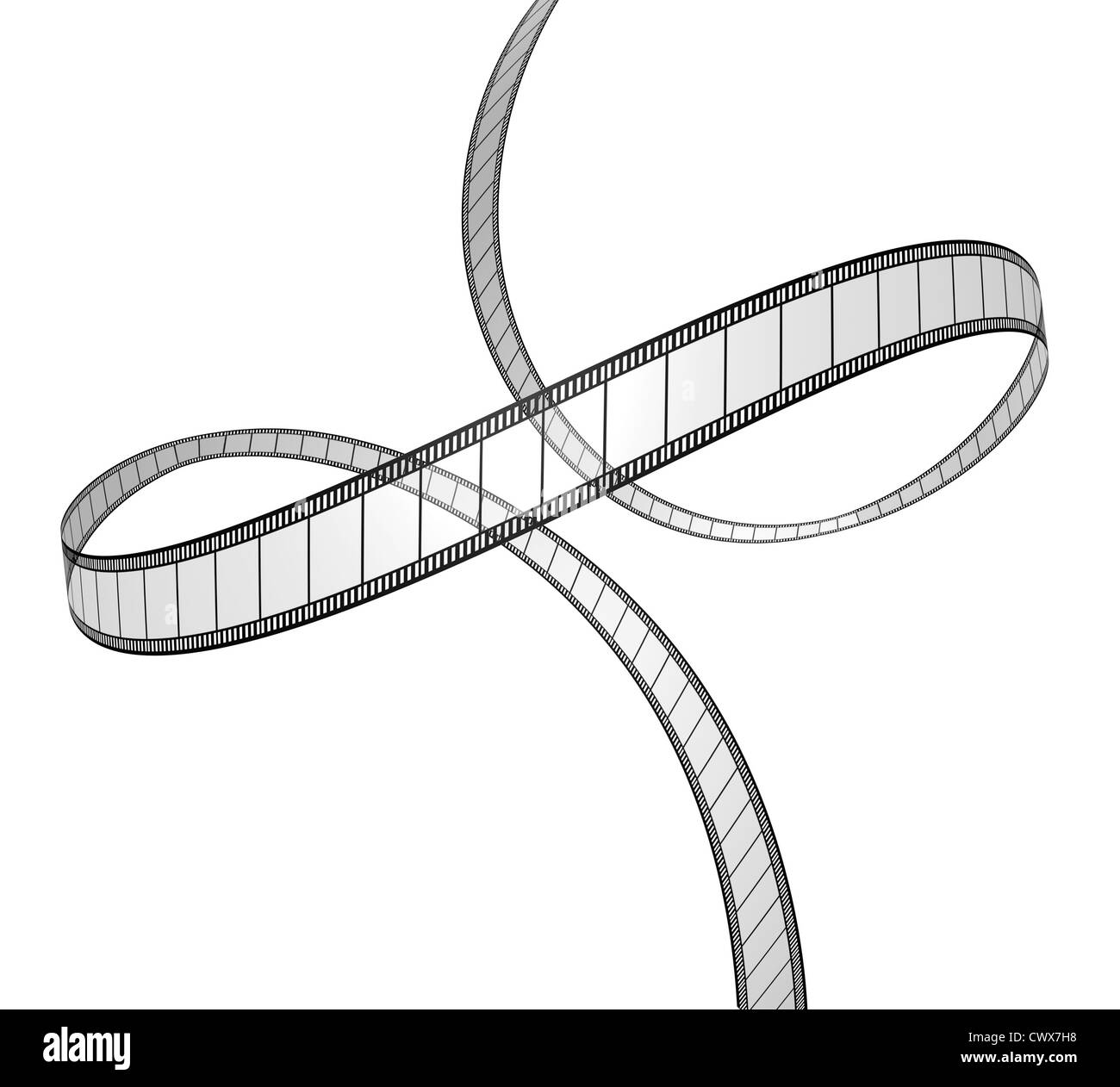 film in dynamic perspective movie frames in a 3d twisted shape on white background for cinema - Dynamic Frames