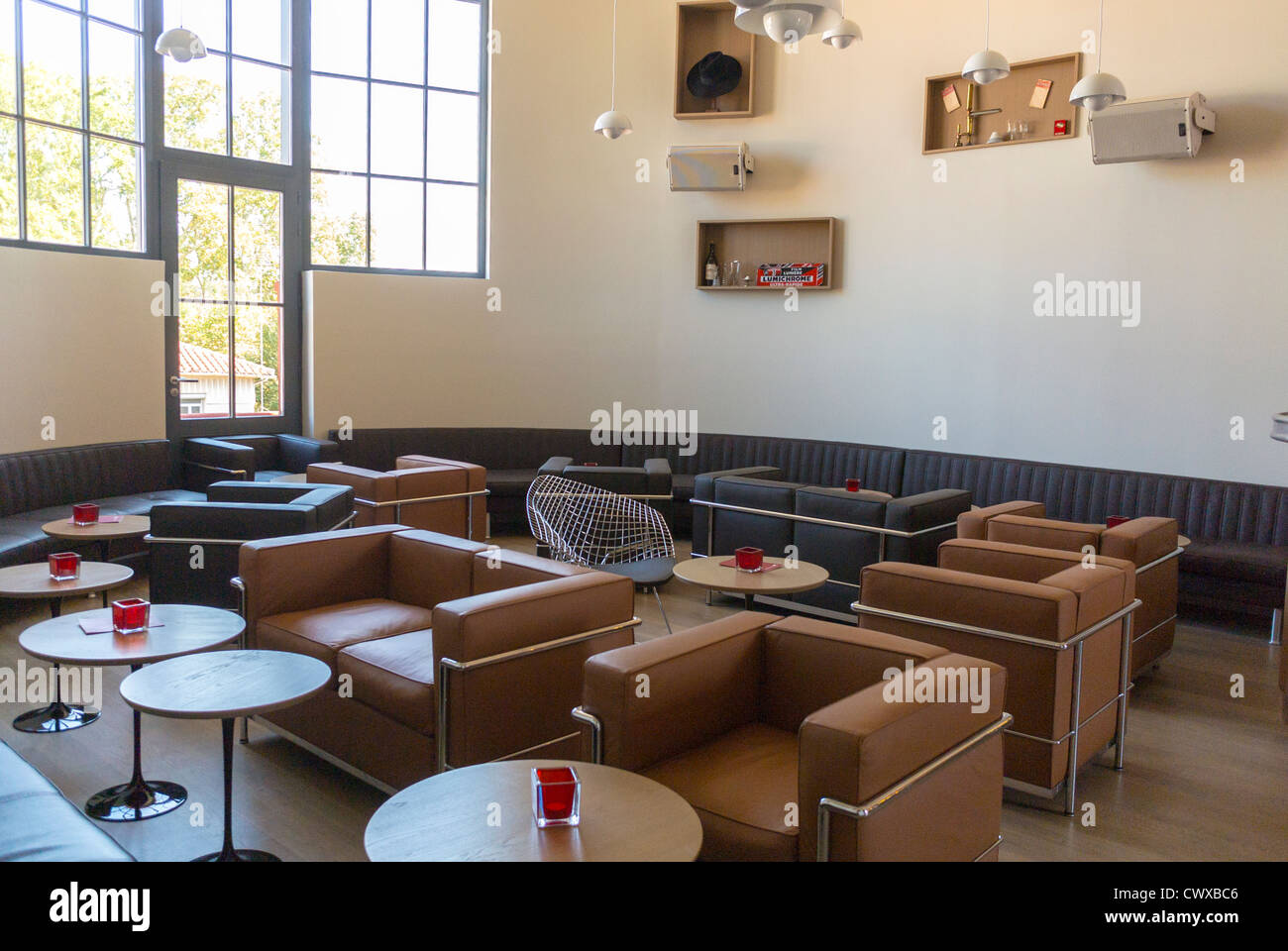 Perpignan France New Trendy Style French Bistro Cafe Bar Lounge Restaurant La Maison Rouge After Renovations Inside DIning Room