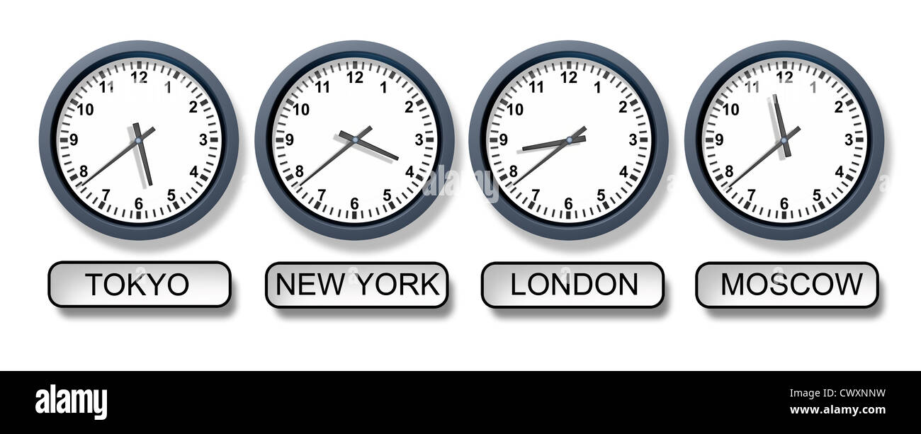 World Time Zone Clocks With A Tokyo New York London And Moscow ...