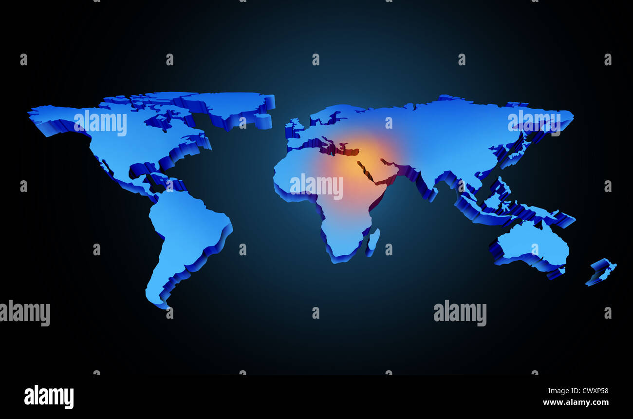 Global earth middle east crisis with a conflict zone of the global earth middle east crisis with a conflict zone of the persian gulf and crude oil symbol with countries as iran israel egyp biocorpaavc Gallery