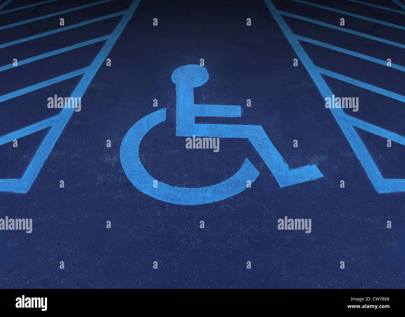 Handicapped and disabled symbol as a parking space with a handicapped and disabled symbol as a parking space with a wheelchair painted on asphalt as a buycottarizona
