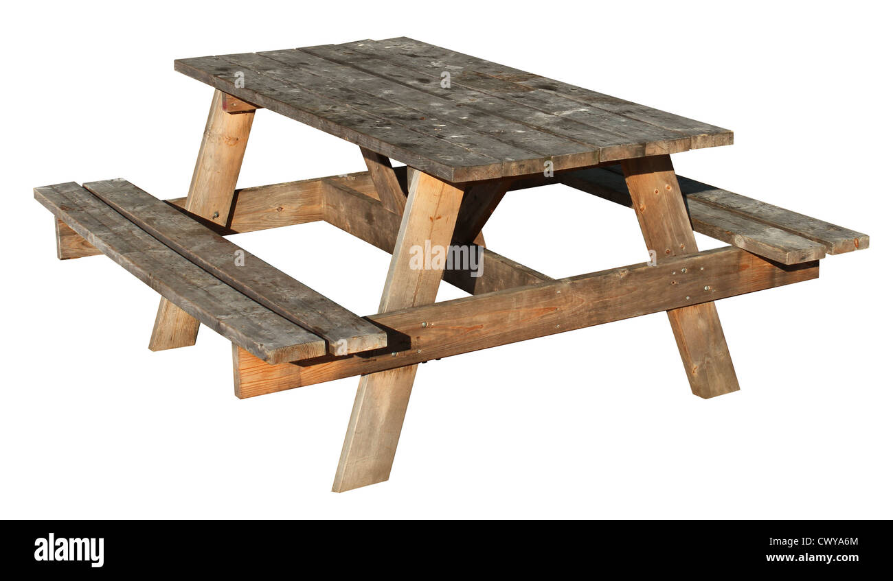Picnic table made of weathered wood on an isolated white picnic table made of weathered wood on an isolated white background as a symbol of summer and barbecue leisure activity biocorpaavc