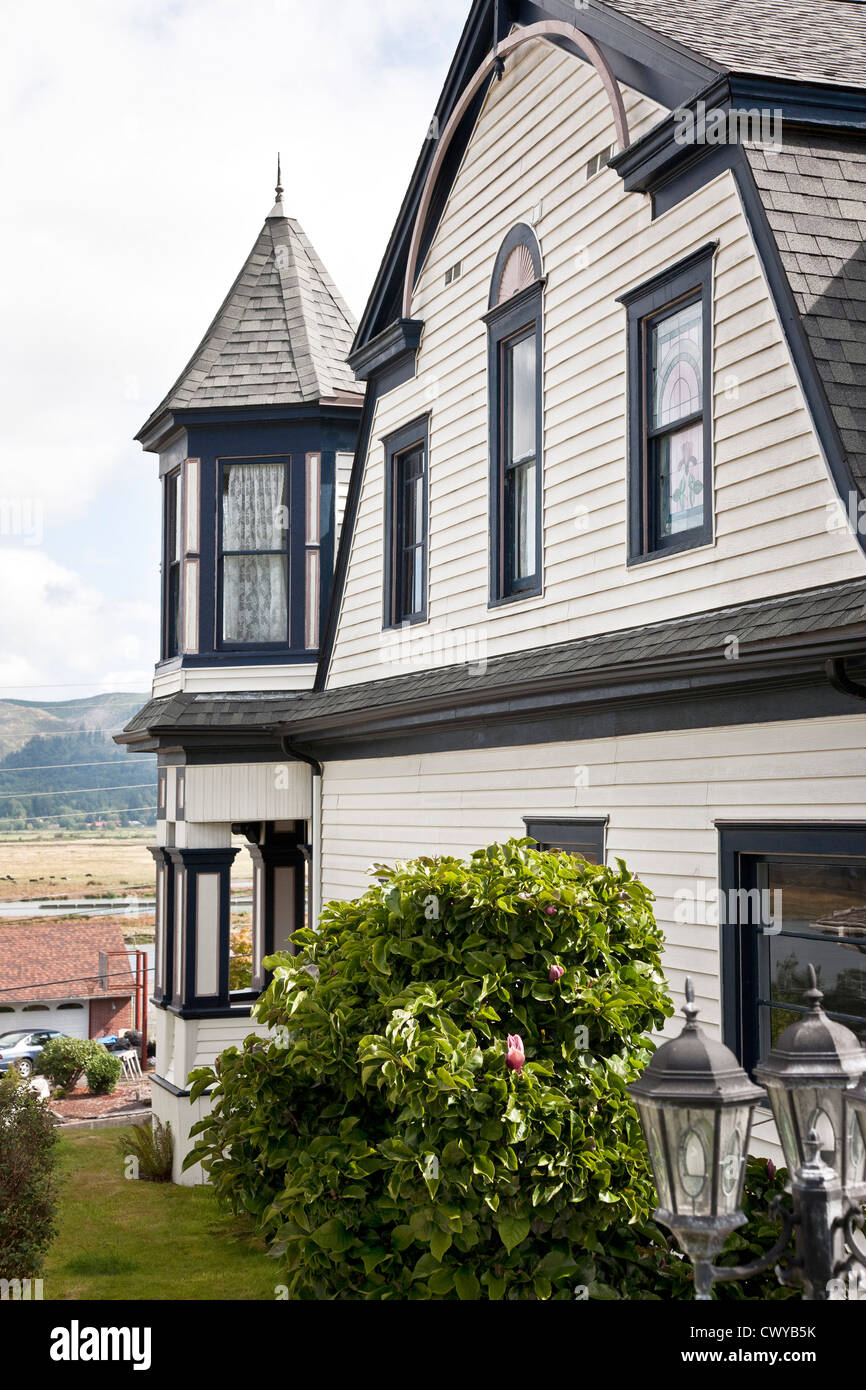 White clapboard victorian house with black trim corner porch stock photo 50388623 alamy - Black house with white trim ...