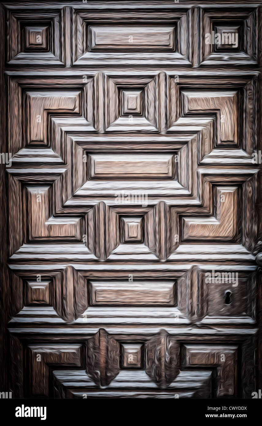 Closed old solid door with wood texture and carved geometric ornament. Dark  vintage and antique - Closed Old Solid Door With Wood Texture And Carved Geometric Stock