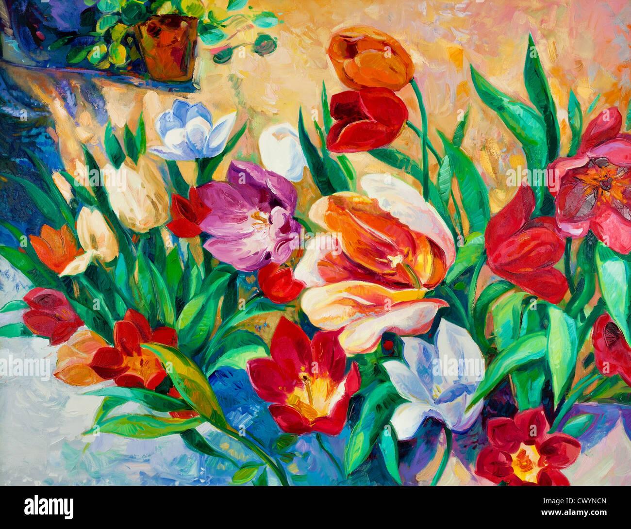 Original oil painting of beautiful vase or bowl of fresh flowers original oil painting of beautiful vase or bowl of fresh flowers on canvasdern impressionism floridaeventfo Images
