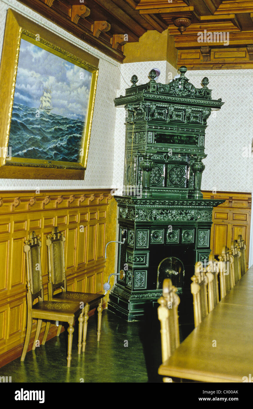 Fireplace and painting inside the Marela Museum in Old Town Rauma ...