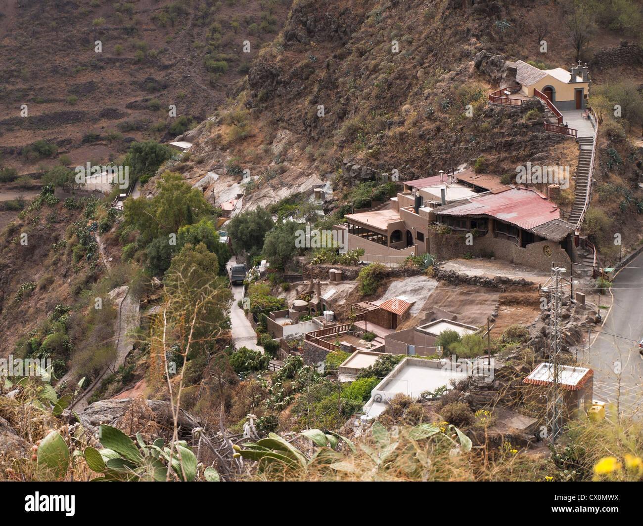 Barranco de Guayadeque in Gran Canaria, view of the village of Stock Photo, R...