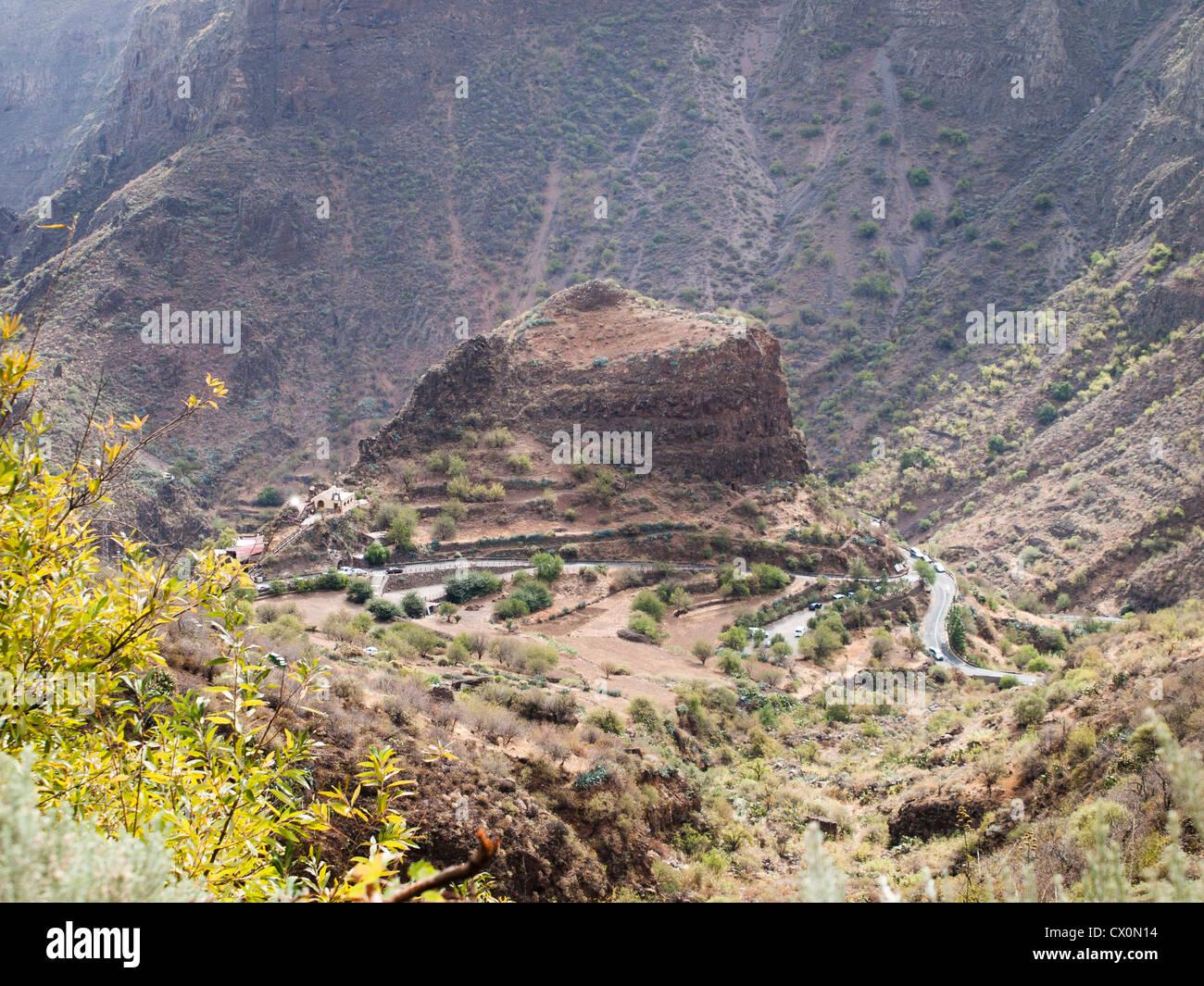 Barranco de Guayadeque in Gran Canaria, birds eye view of Montana las Stock P...