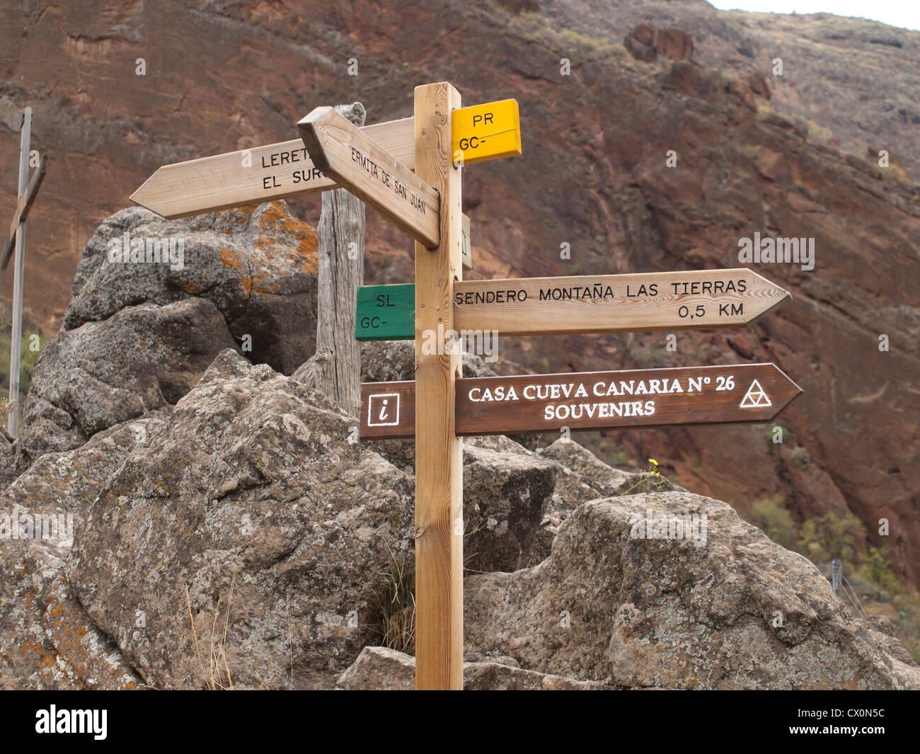 Barranco de Guayadeque in Gran Canaria, signpost in Montana las Stock Photo, ...