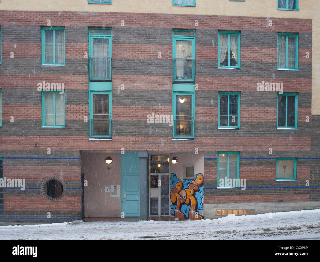 Brick Apartment Building Illustration