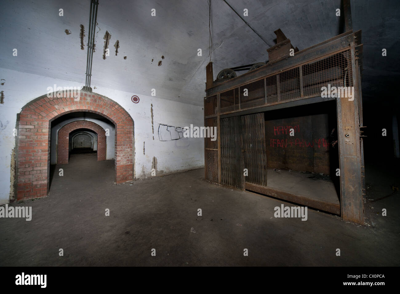 A Large Underground WWII Munitions Storage Bunker   Stock Image