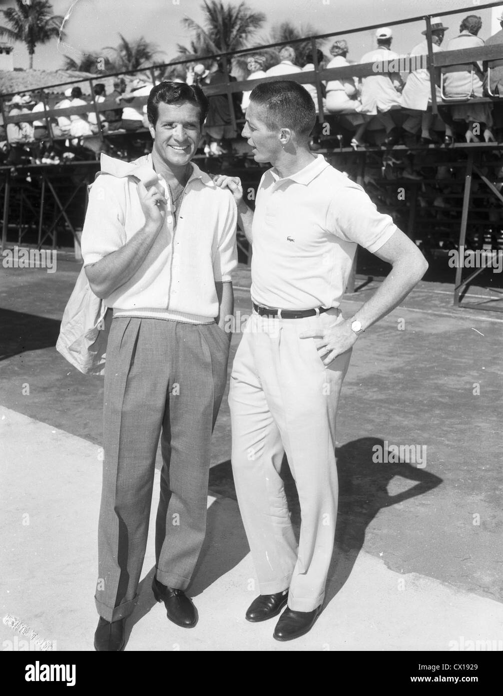 Hugh Wyatt Earp O Brien and tennis pro Tony Trabert in Palm