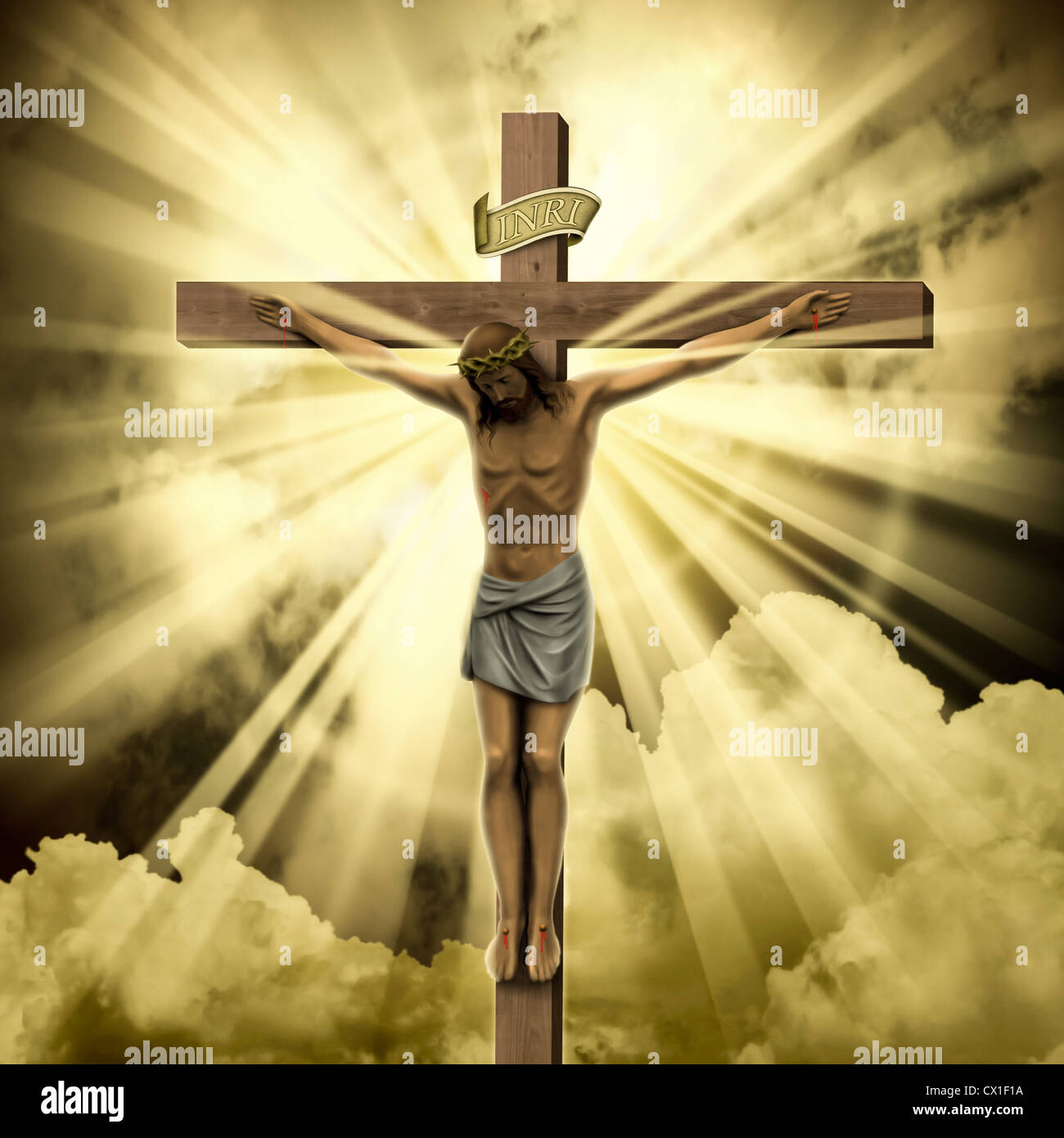 jesus christ on the cross with clouds stock photo royalty