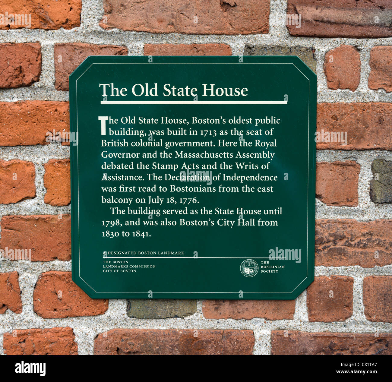 Sign On The Wall Of The Historic Old State House Museum Boston - Oldest museums in usa
