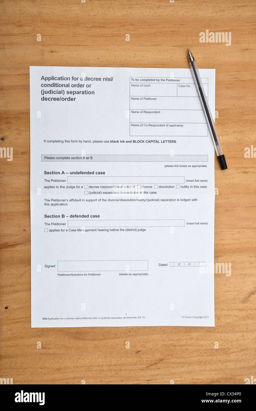 Divorce Paperwork  Application For Decree Nisi  Free Divorce Decree Forms