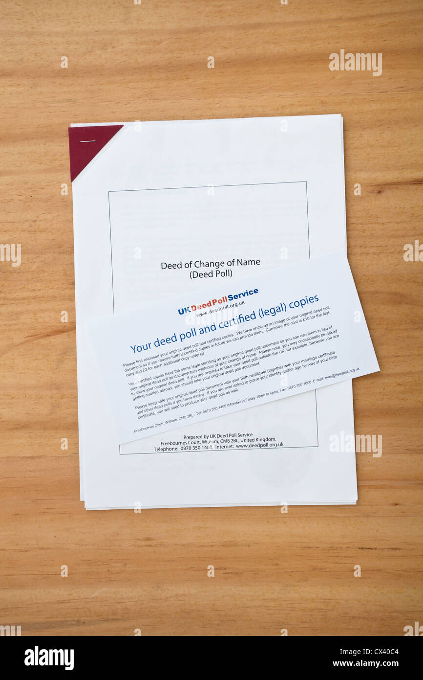 Deed poll change of name form in uk stock photo royalty free deed poll change of name form in uk aiddatafo Image collections