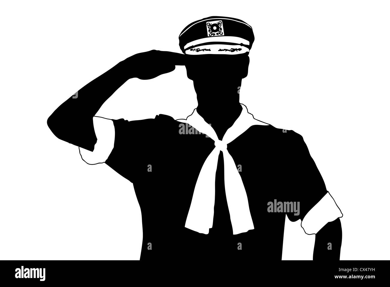 A silhouette of a sailor saluting isolated on white ...