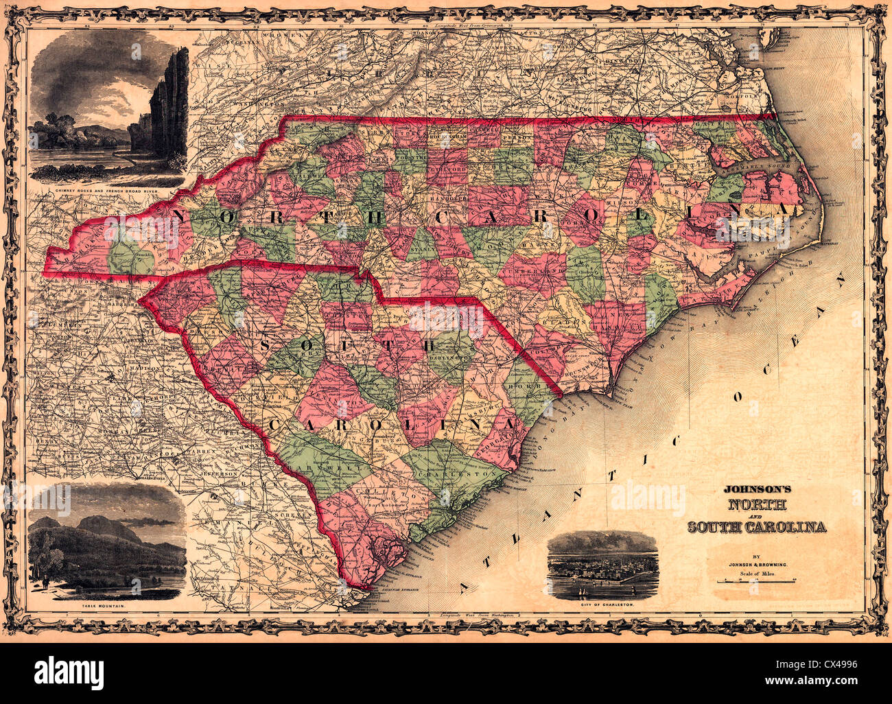 Map of North and South Carolina USA 1861 Stock Photo Royalty