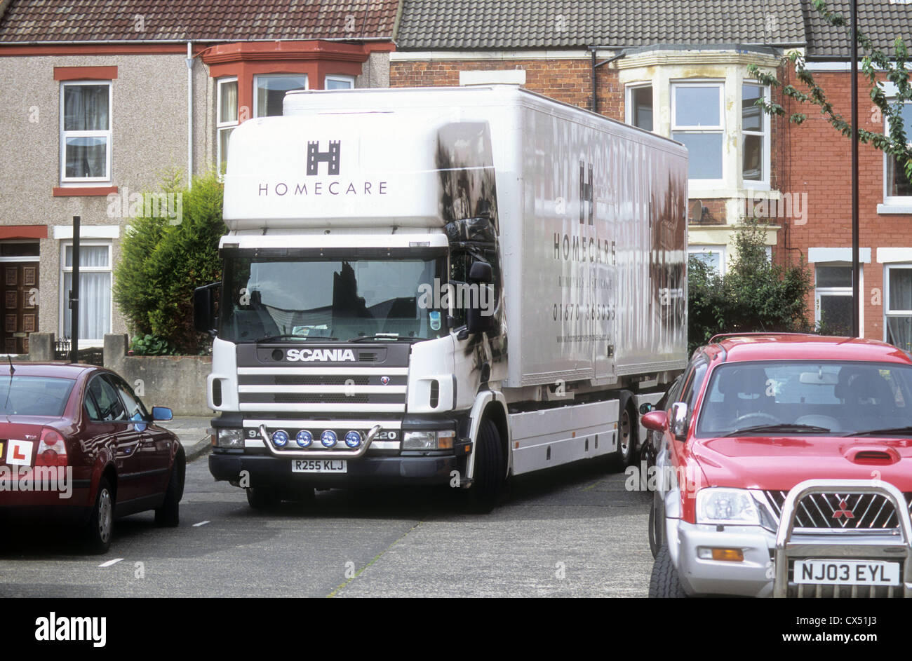 Furniture Removal Truck Parked In A Suburb In North East England