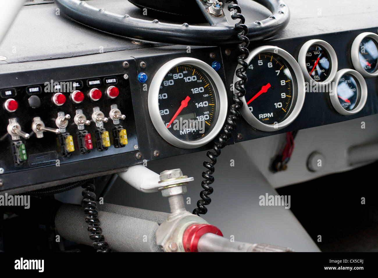nascar dashboard with steering wheel detached stock photo royalty free image 50521622 alamy. Black Bedroom Furniture Sets. Home Design Ideas
