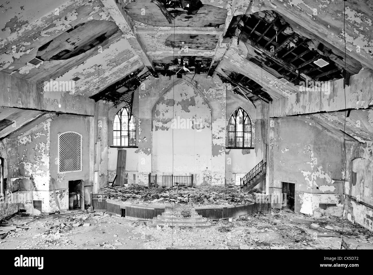 Abandoned Church abandoned church in detroit michigan. paint is peeling off of the