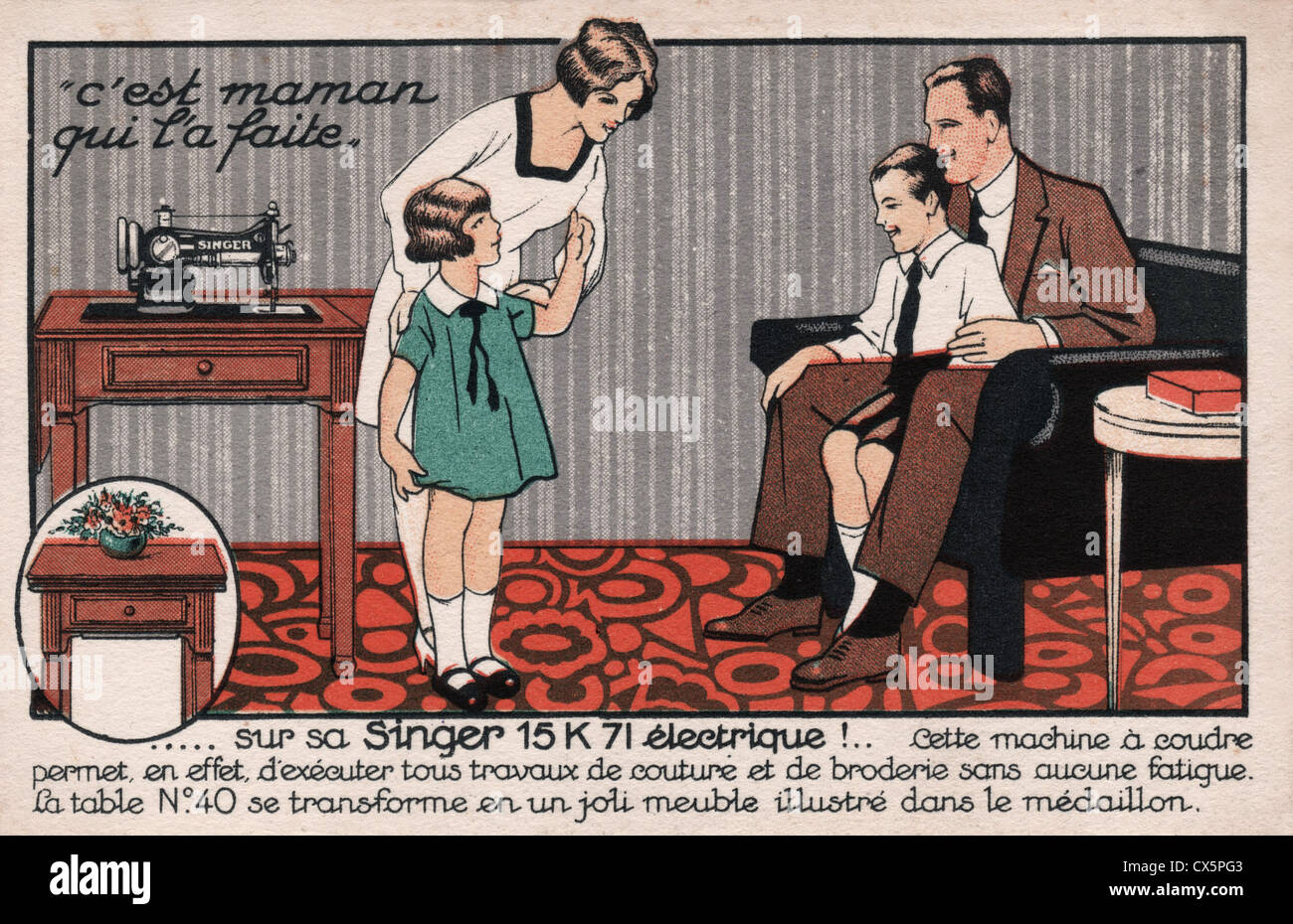 Vintage advertising postcard in French for Singer electric sewing ...