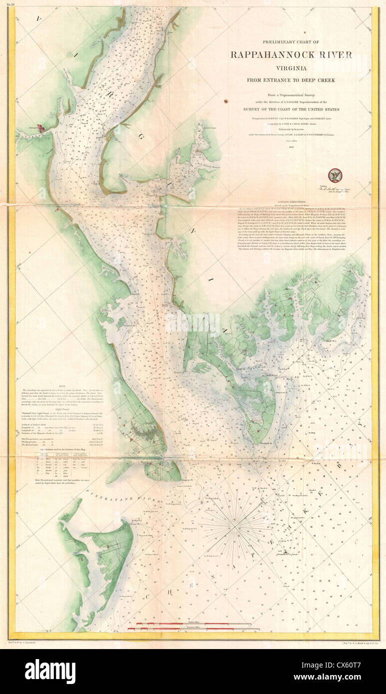 US Coast Survey Map Or Chart Of The Rapphannock River South - South us coast map