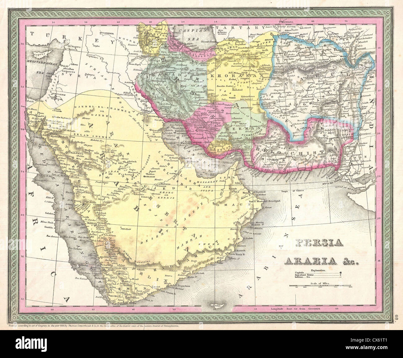 1850 Mitchell Map Of Arabia Persia Afghanistan Photo – Map of Arabia