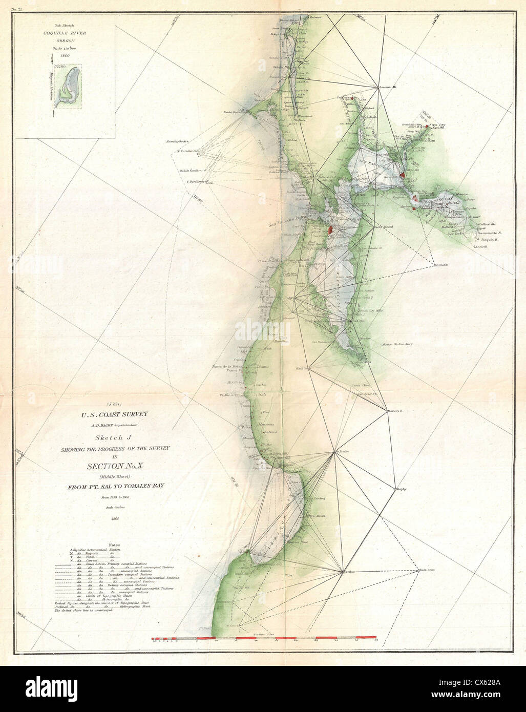 1865 u s coast survey triangulation map of san francisco bay