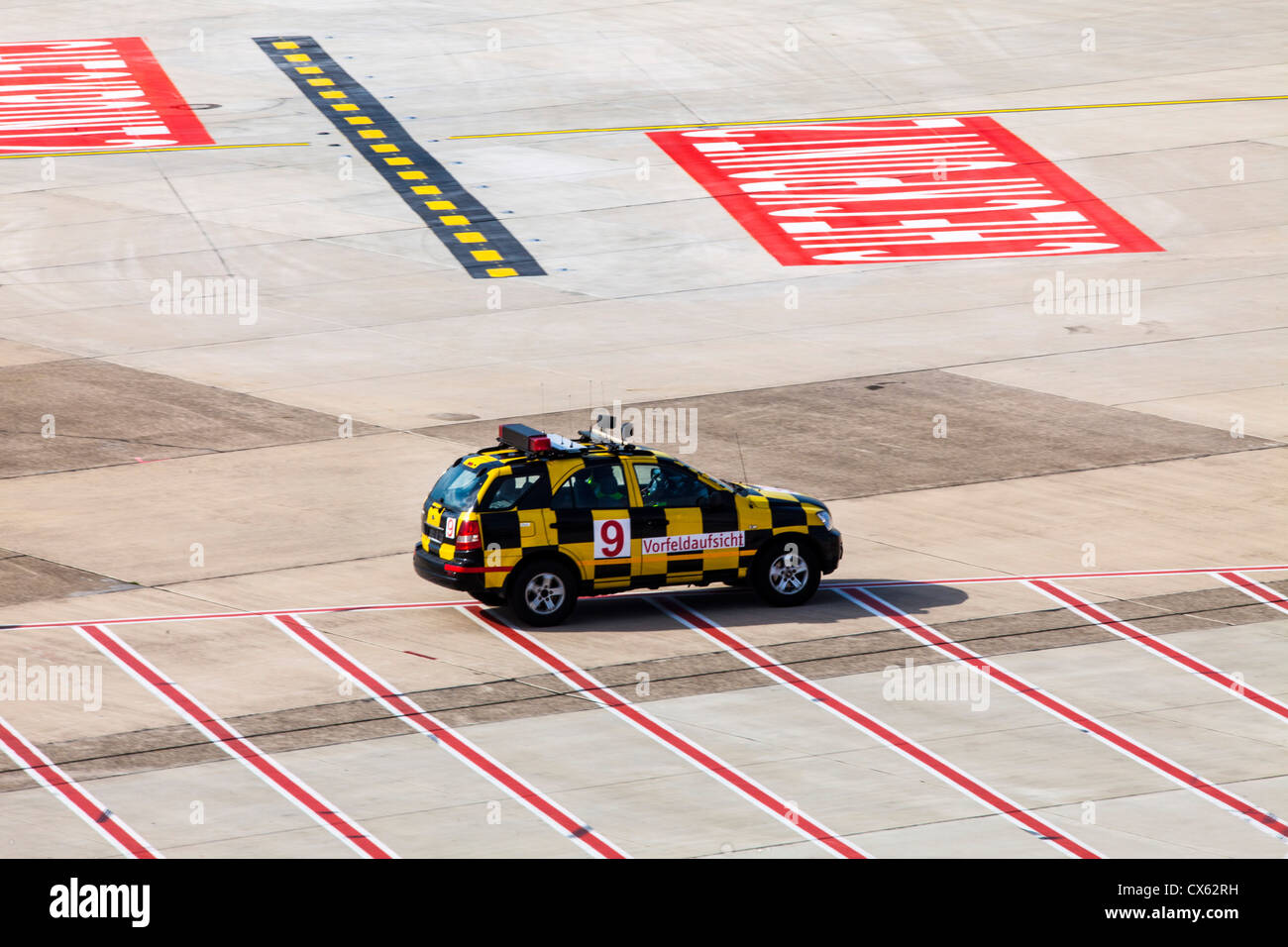 ground handling of air planes marshal follow me car at