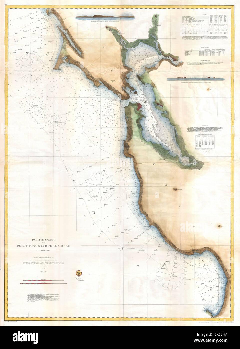 1866 US Coast Survey Chart or Map of San Francisco Bay Stock