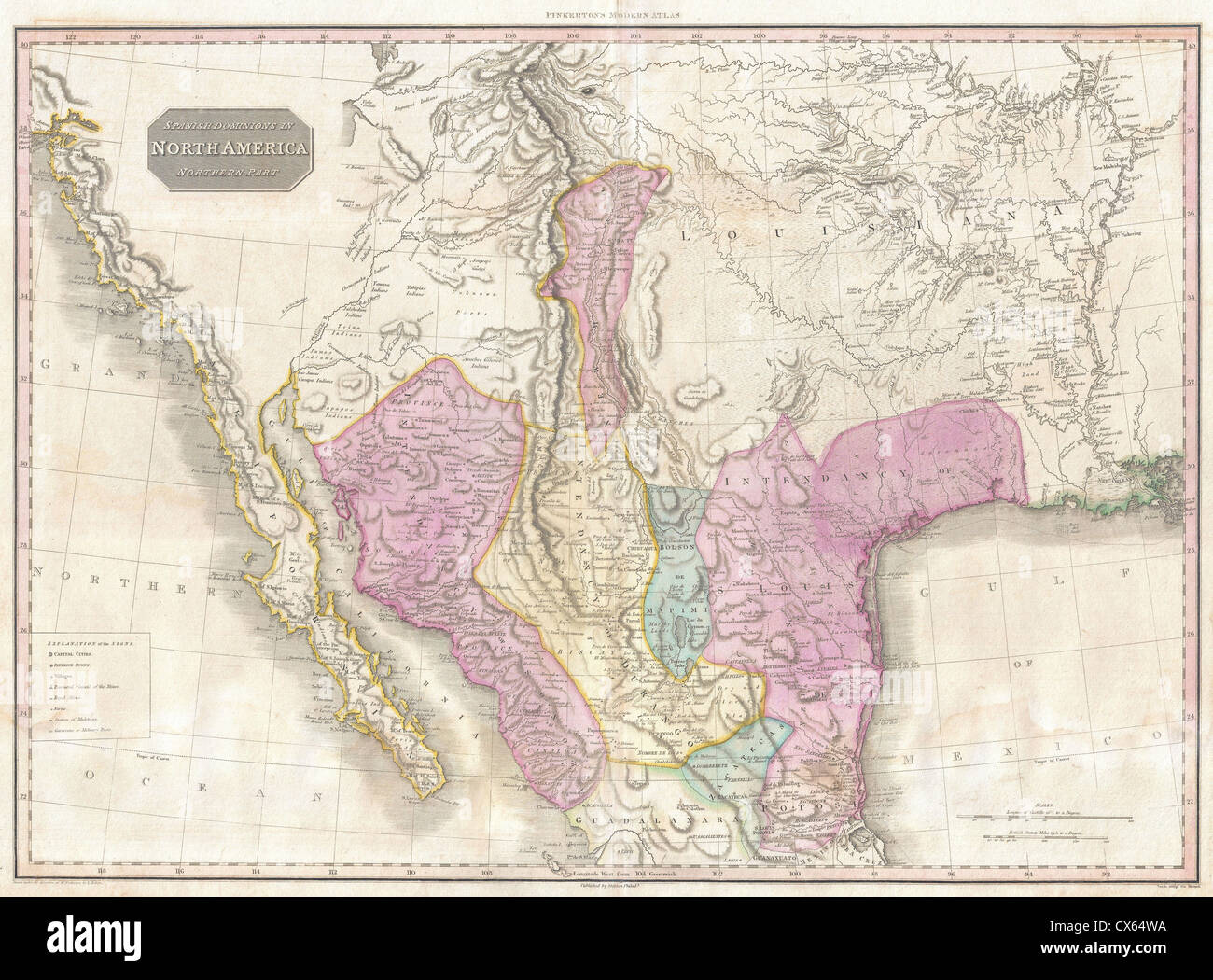 1818 Pinkerton Map of the American Southwest