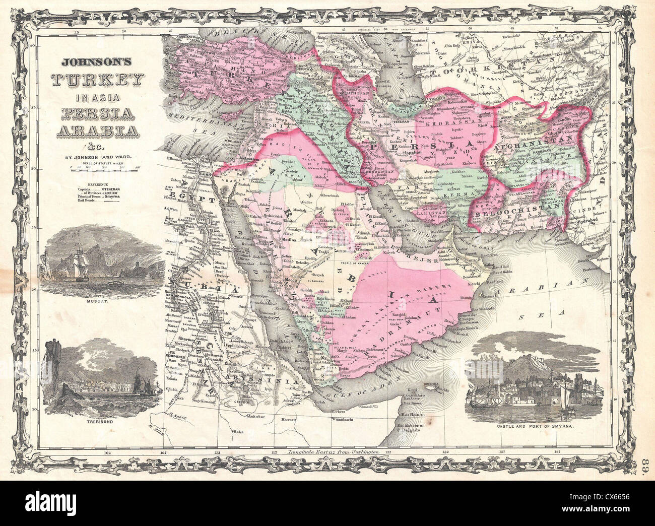 1862 Johnson Map Of Arabia Persia And Turkey In Asia Photo – Map of Arabia
