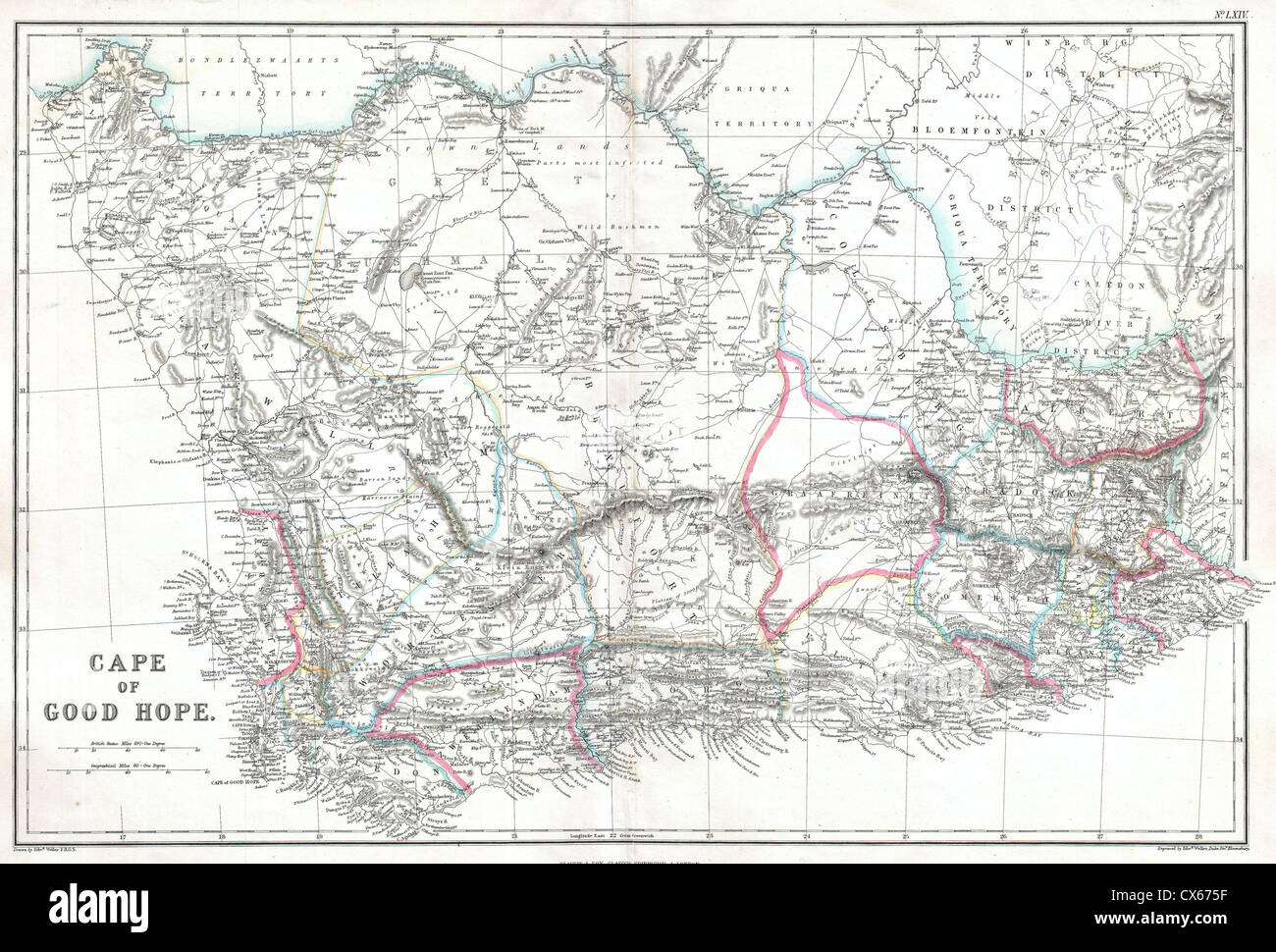 1860 Blackie Map of the Cape of Good Hope Stock Photo Royalty