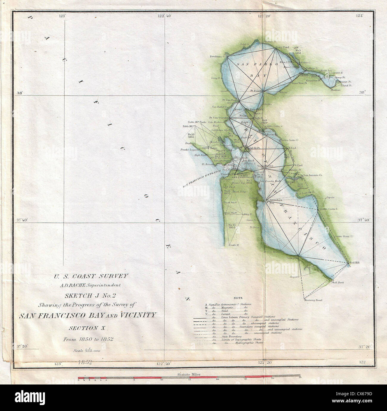 1853 u s coast survey map of san francisco bay california