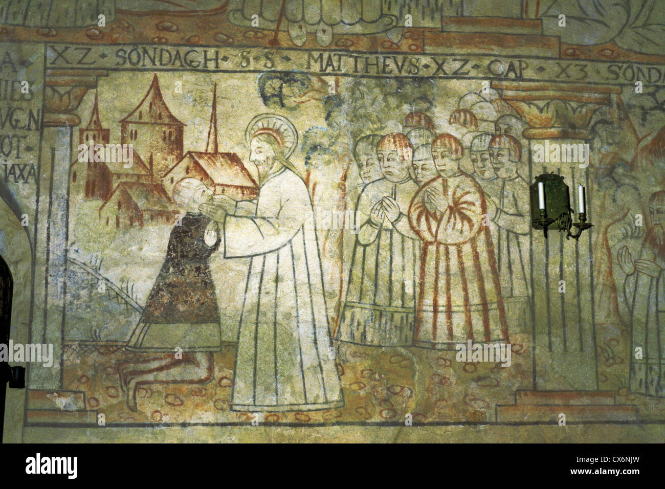 Wall mural with a depiction of jesus christ in the medieval st wall mural with a depiction of jesus christ in the medieval st lawrence church of isokyro finland amipublicfo Image collections