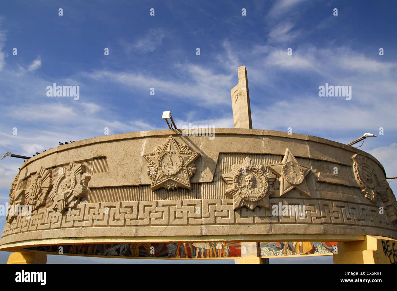 Soviet memorial dedicated to cosmonauts from kaliningrad - Soviet Monument In Ulaanbaatar Mongolia Stock Image
