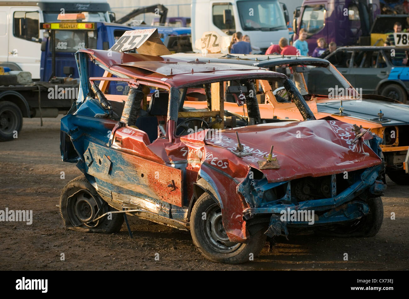 Smashed Up Volvo Estate Car After A Banger Race Stock